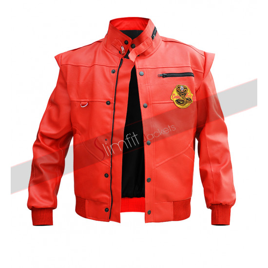 Cobra Kai Johnny Lawrence Red Bomber  Jacket
