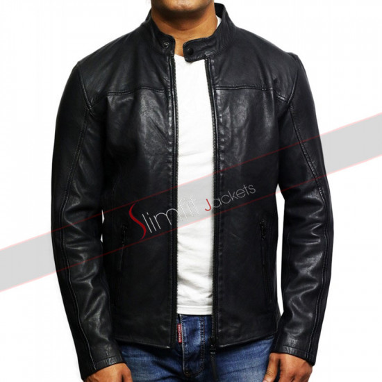 Men's Leather Biker Jacket Distressed Black Slim Fit Jacket