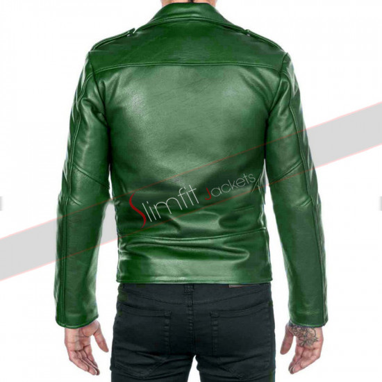 Cafe Racer Mens Green Motorcycle Leather Jacket
