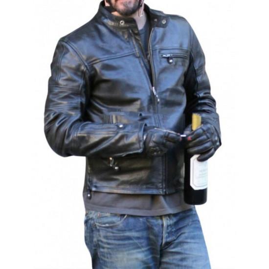 KRGT-1 Keanu Reeves Black Motorcycle Leather Jacket