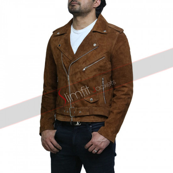 Cross Zip Belted Motorcycle Suede Leather Vintage jacket