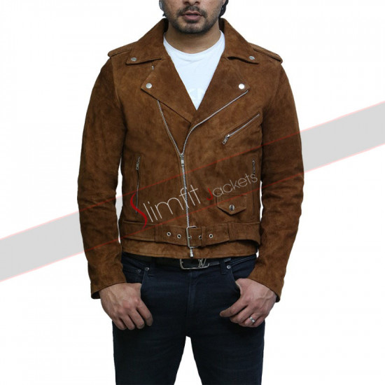 Cross Zip Belted Motorcycle Suede Leather Vintage jacket