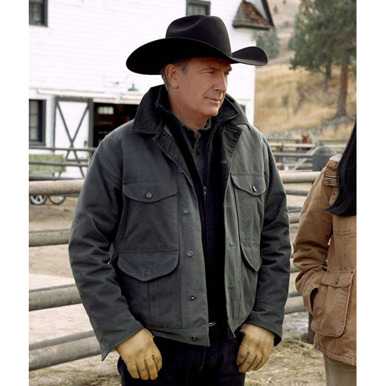 kevin Costner Yellowstone Season 02 Grey Cotton Jacket