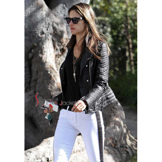 Alessandra Ambrosio Black Leather Jacket
