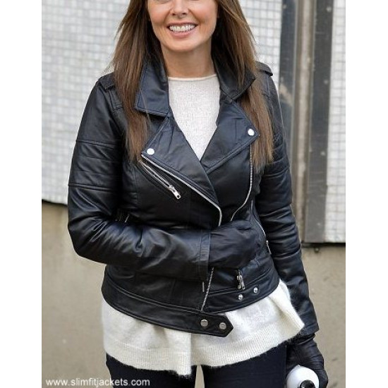 Carol Vorderman Black Biker Leather Jacket