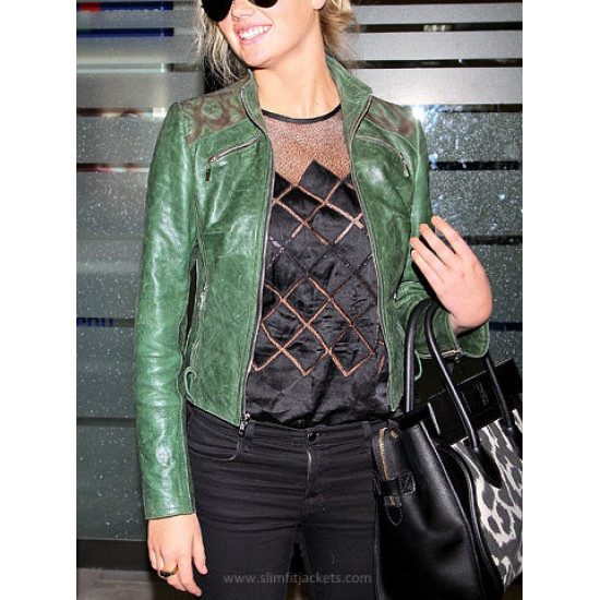 Kate Upton Stylish Green Leather Jacket