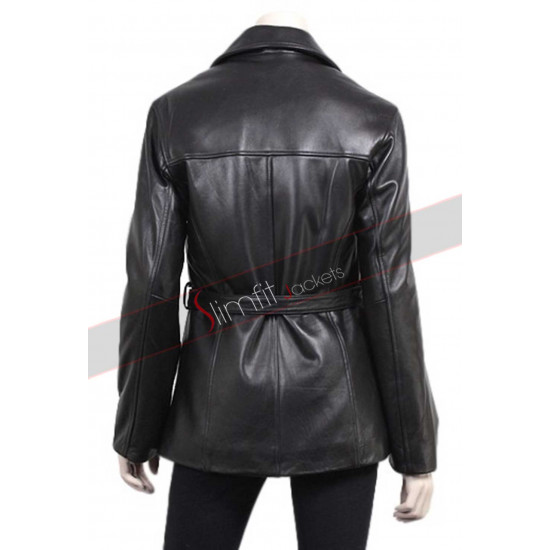 Ladies Slim Fit Black Leather Blazer