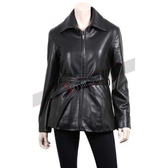 Ladies Slim Fit Black Leather Blazer