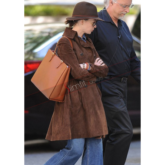 Anne Hathaway Brown Leather Trench Coat