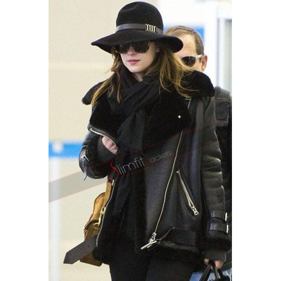 Dakota Johnson Black Leather Biker Fur Jacket