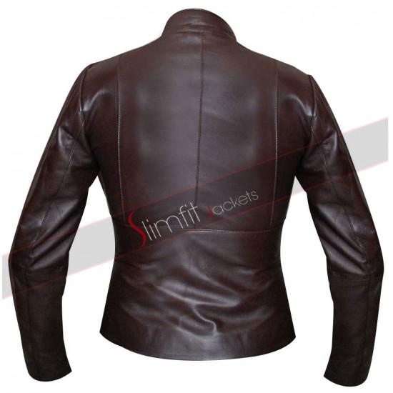 Slim Fit Motorcycle Brown UK Jacket For Women