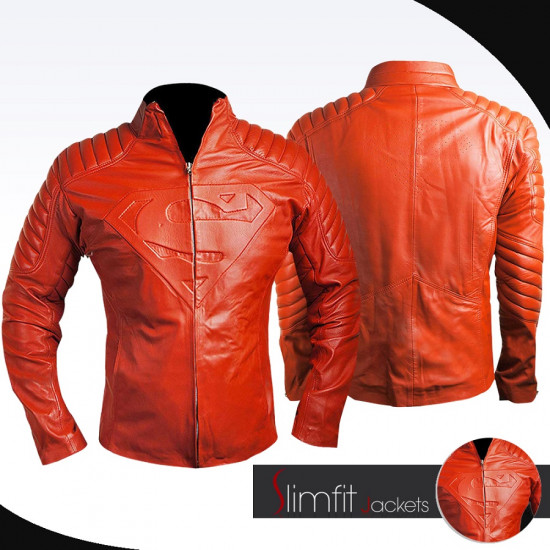 2015 Superman Comics Style Blood Red Leather Jacket