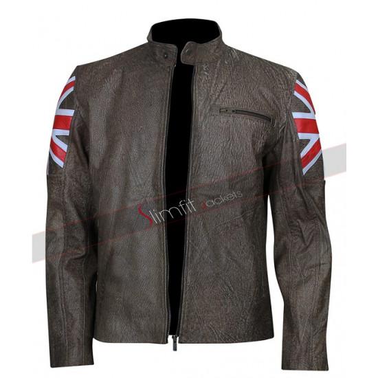 UK Flag Men's Biker Vintage Style Cafe Racer Jacket