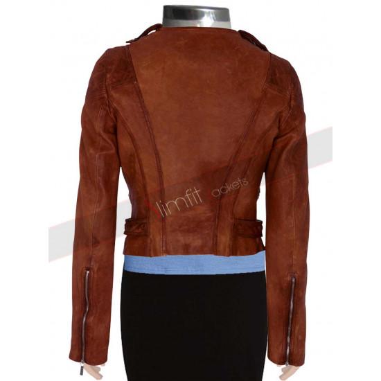 Ashley Benson Brown Biker Leather Jacket