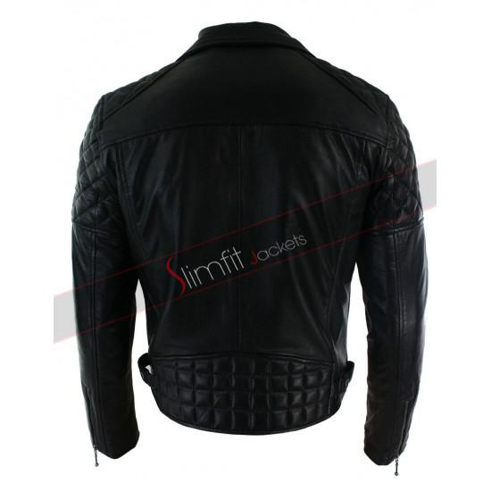 Mens Cross Zip Fit Retro Biker Leather Jacket