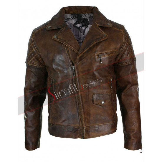 Mens Vintage Washed Tan Brown Real Leather Biker Jacket