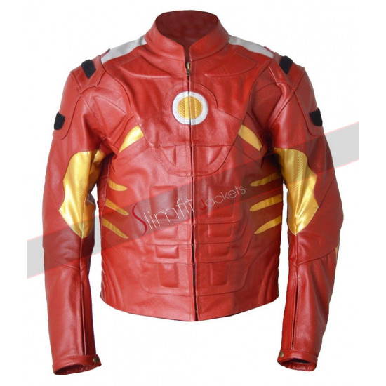Motorcycle Classyak Ironman Red Leather Jacket