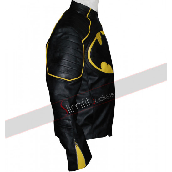 Batman Motorcycle Yellow Stripes Leather Jacket for Sale