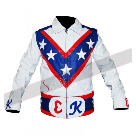Evel Knievel Vintage Biker White Leather Jacket
