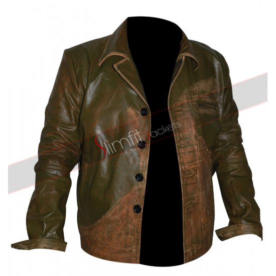 Johnny Depp Green Distressed Leather Jacket