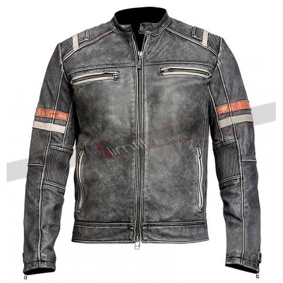 Men's Vintage Cafe Racer Retro 2 Moto Black Leather Jacket
