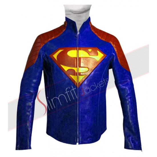 Superman Blue Maroon Leather Jacket