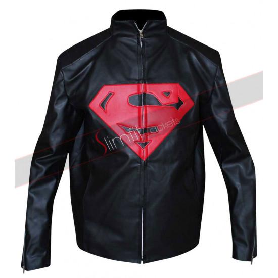New Mens Superman Black Leather Jacket