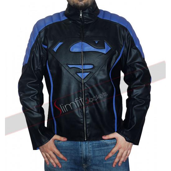 Black and Blue Stripes Superman Leather Jacket