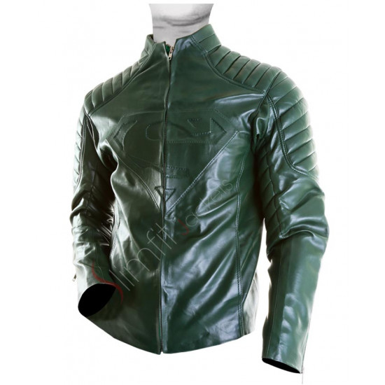 New Superman Green Leather Jacket For Men