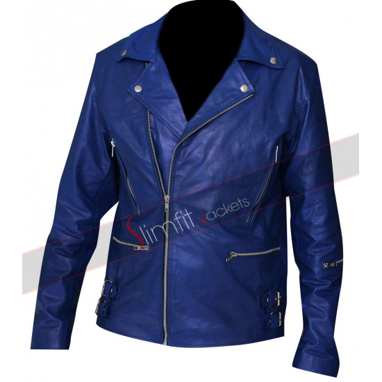 30 Seconds to Mars Jared Leto Blue Biker Leather Jacket