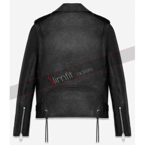 3 Angled Zip Pockets Classic Saint Laurent Biker Jacket