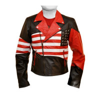 New American Flag Stars Leather Jacket For Men