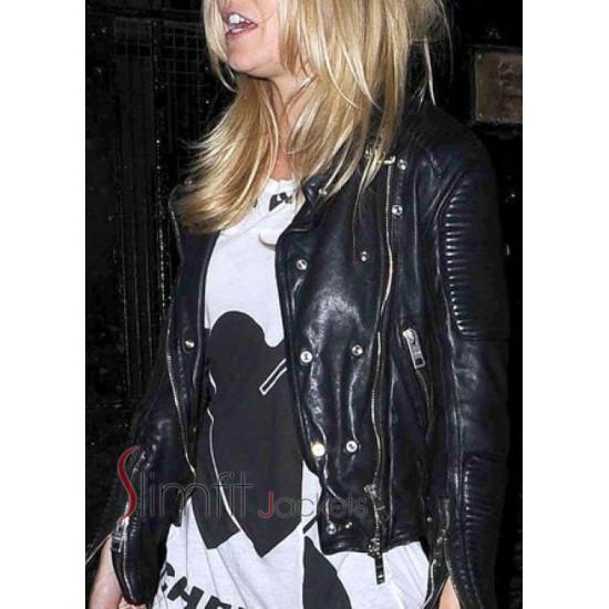Burberry Sienna Miller Black Biker Leather Jacket
