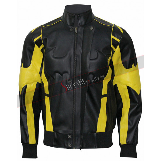 X Batman Black & Yellow Leather Jacket