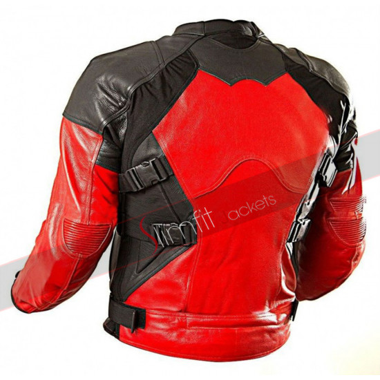 Deadpool Red and Black Biker Leather Jacket
