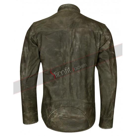 Distressed Wax Men's Biker Vintage Cafe Racer Jacket