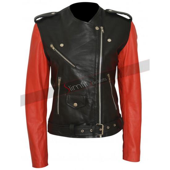 Hailey Baldwin Black & Red Biker Leather Jacket