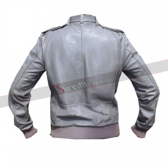 Designer Cafe Racer Style Bomber Grey Leather Jacket