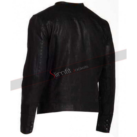 Officer Star USA Black Biker Leather Jacket