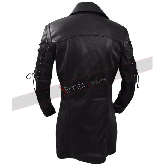 Gothic Steampunk Black Matrix Leather Coat