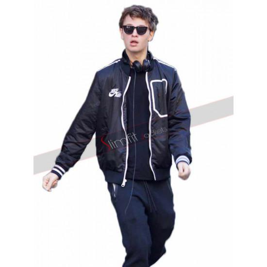 Ansel Elgort Baby Driver Black Bomber Jacket