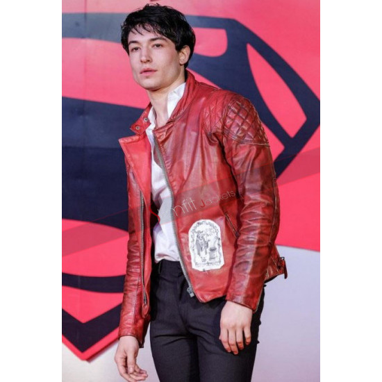 Ezra Miller Premiere of Justice League Leather Jacket