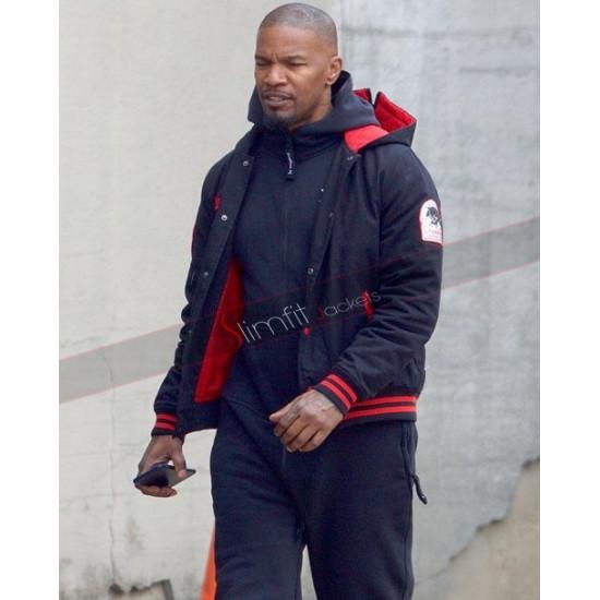 Baby Driver Jamie Foxx Blue Hoodie Jacket