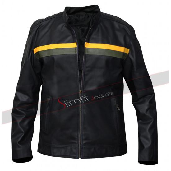 MENS BLACK RIVET LEATHER JACKET FADED-SEAM REAL BIKER MOTORCYCLE JACKET NEW