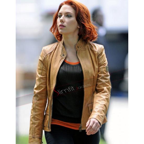 Avengers Film Scarlett Johansson Tan Leather Jacket