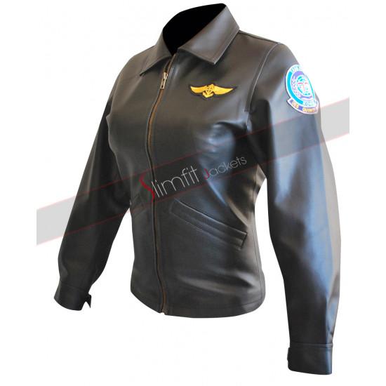 Top Gun Kelly McGillis Bomber Aviator Jacket For Women