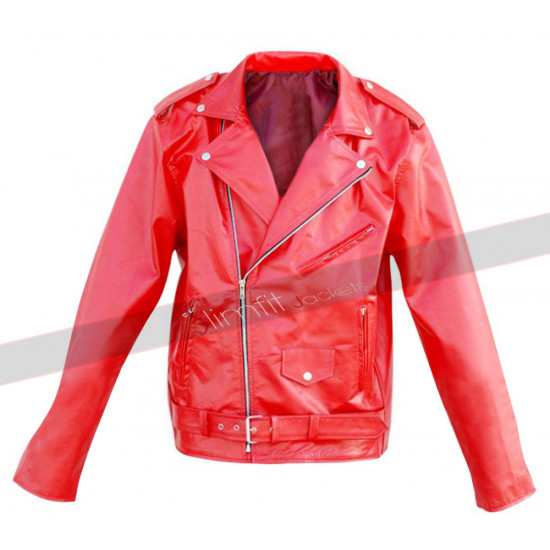 Leather Skin Unisex Punk Red Brando Belted Leather Jacket