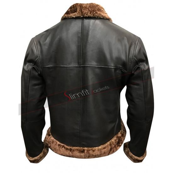 Mens B3 Ginger Aviator Shearling Sheepskin Bomber Jacket