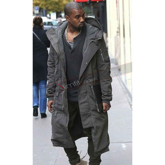Kanye West Stylish Long Grey Coat