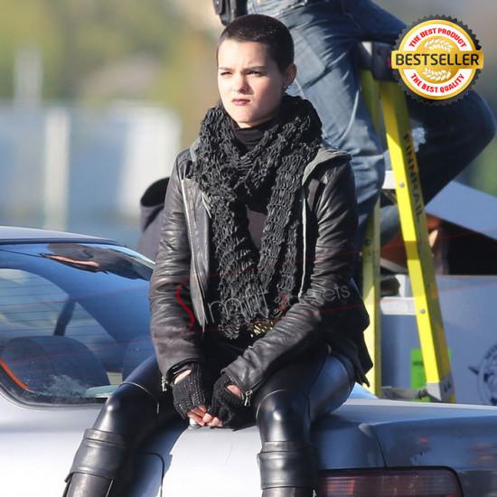 Brianna Hildebrand Deadpool Black Leather Jacket